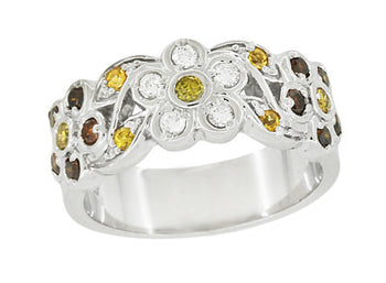1960's Style Cocoa Brown Diamond, Yellow Diamond, and White Diamond Floral Wedding Band in 14K White Gold