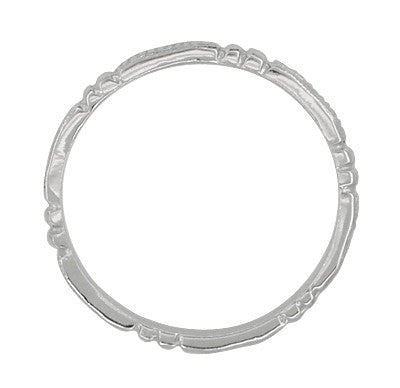 Art Deco Beads and Bars Thin Wedding Band in 14K White Gold - Item: R650 - Image: 1