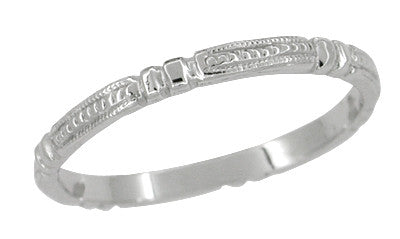 Art Deco Beads and Bars Thin Wedding Band in 14K White Gold