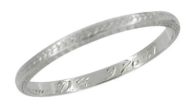 Art Deco 1931 Engraved Wheat Antique Wedding Band in 18 Karat White Gold - Item: R651 - Image: 1