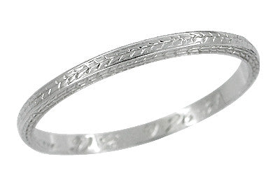 Art Deco 1931 Engraved Wheat Antique Wedding Band in 18 Karat White Gold