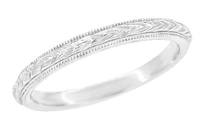 Art Deco Hand Engraved Wheat Millgrain Wedding Band In 14 Karat White Gold    2.5mm
