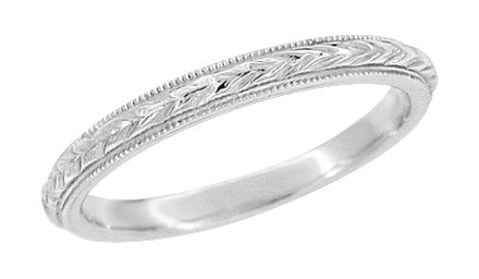 2.5mm Vintage Wheat Platinum Engraved Wedding Band With Milgrain Edges - Hand Carved - R652P