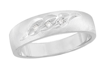 Mid Century Modern Grooved Mens Diamond Wedding Ring in 14K White Gold