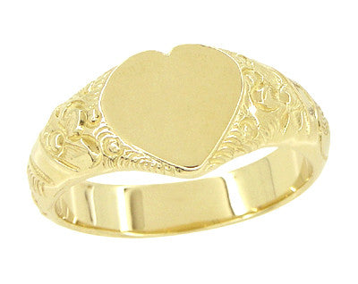 Victorian Heart Shape Scrolls and Flowers Heavy Signet Ring in 14K Yellow Gold For a Man - Item: R659 - Image: 1