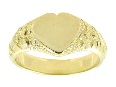Victorian Heart Shape Scrolls and Flowers Heavy Signet Ring in 14K