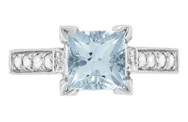 Platinum Art Deco 3/4 Carat Princess Cut Aquamarine and Diamonds Castle Engagement Ring - Item: R660A - Image: 3