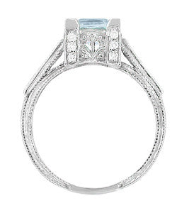 Platinum Art Deco 3/4 Carat Princess Cut Aquamarine and Diamonds Castle Engagement Ring - Item: R660A - Image: 4