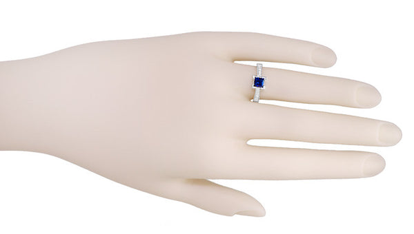 Art Deco 3/4 Carat Princess Cut Sapphire and Diamond Engagement Ring in Platinum - Item: R660SP - Image: 2