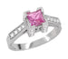 Art Deco 1/2 Carat Princess Cut Pink Sapphire and Diamond Engagement Ring in 18 Karat White Gold