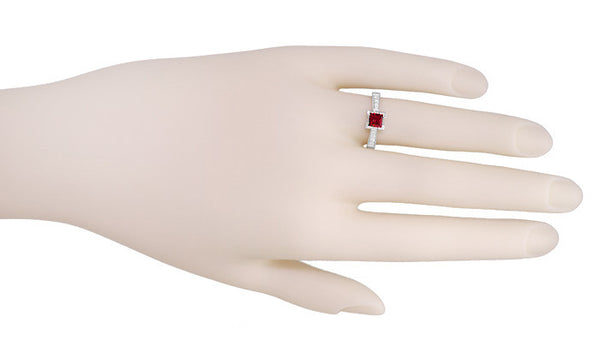 Art Deco 1/2 Carat Square Ruby and Diamonds Engagement Ring in 18K White Gold - Item: R661RU - Image: 2