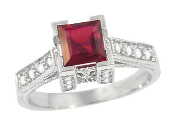 Art Deco 1/2 Carat Square Ruby and Diamonds Engagement Ring in 18K White Gold