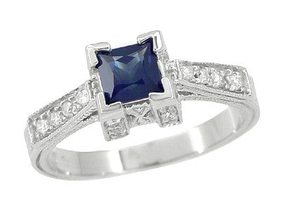 Art Deco 1/2 Carat Princess Cut Blue Sapphire and Diamond Engagement Ring in Platinum