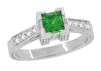 Art Deco 0.68 Carat Princess Cut Tsavorite Garnet and Diamond Engagement Ring in 18 Karat White Gold