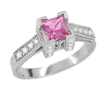 Art Deco 3/4 Carat Princess Cut Pink Sapphire and Diamond Castle Engagement Ring in 18 Karat White Gold