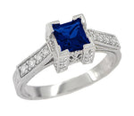 1920's Vintage Inspired Princess Cut Square Blue Sapphire Engagement Ring in 18K White Gold | 3/4 Carat