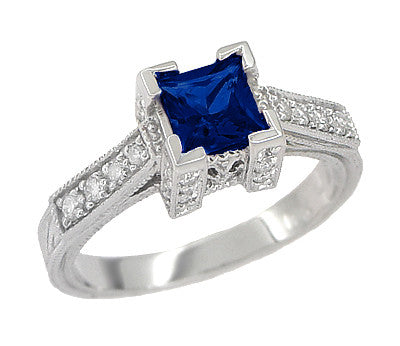 1920 S Vintage Inspired Princess Cut Square Blue Sapphire
