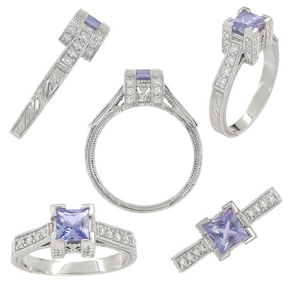 Art Deco 3/4 Carat Princess Cut Tanzanite and Diamond Engagement Ring in 18 Karat White Gold - Item: R662TA - Image: 1