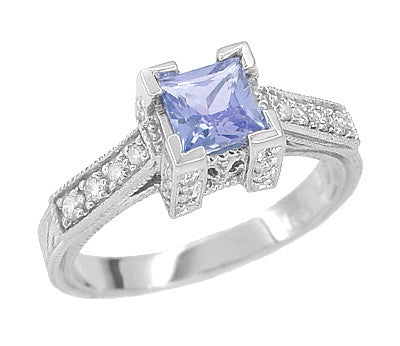 Art Deco 3/4 Carat Princess Cut Tanzanite and Diamond Engagement Ring in 18 Karat White Gold