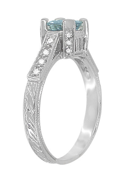 Art Deco 3/4 Carat Aquamarine Castle Engagement Ring in 18 Karat White Gold - Item: R663A - Image: 3