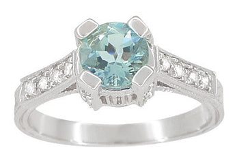 Art Deco 3/4 Carat Aquamarine March Birthstone Castle Engagement Ring in 18 Karat White Gold