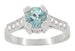 Art Deco 3/4 Carat Aquamarine Castle Engagement Ring in 18 Karat White Gold