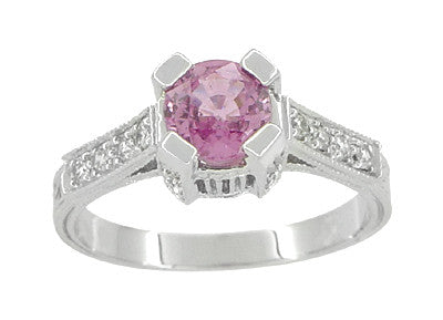 Art Deco Pink Sapphire Castle Engagement Ring in 18 Karat White Gold - Item: R663PS - Image: 1