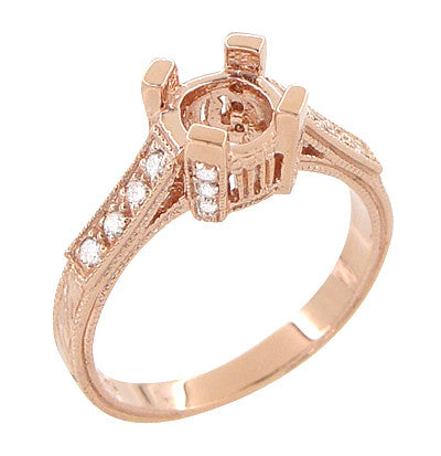 Art Deco 3/4 Carat Diamond Filigree Citadel Engagement Ring Semimount in 14 Karat Rose Gold - Item: R663R - Image: 2