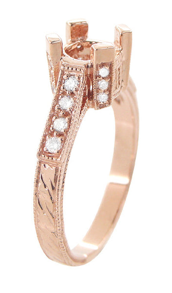 Art Deco 3/4 Carat Diamond Filigree Citadel Engagement Ring Mounting in 14 Karat Rose Gold - Item: R663R - Image: 3