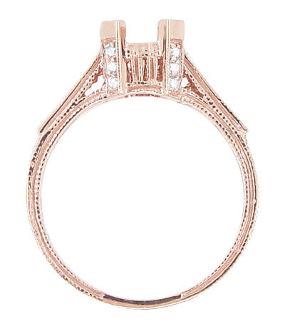 Art Deco 3/4 Carat Diamond Filigree Citadel Engagement Ring Mounting in 14 Karat Rose Gold - Item: R663R - Image: 5