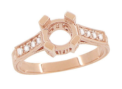 Art Deco 3/4 Carat Diamond Filigree Citadel Engagement Ring Semimount in 14 Karat Rose Gold - Item: R663R - Image: 1