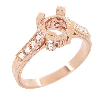 Art Deco 3/4 Carat Diamond Filigree Citadel Engagement Ring Semimount in 14 Karat Rose Gold