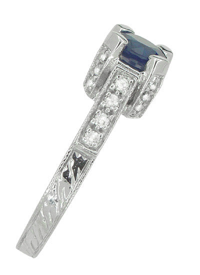 Luxe Castle Blue Sapphire Engagement Ring in 18 Karat White Gold - Item: R663S - Image: 3
