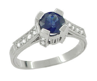 Luxe Castle Blue Sapphire Engagement Ring in 18 Karat White Gold