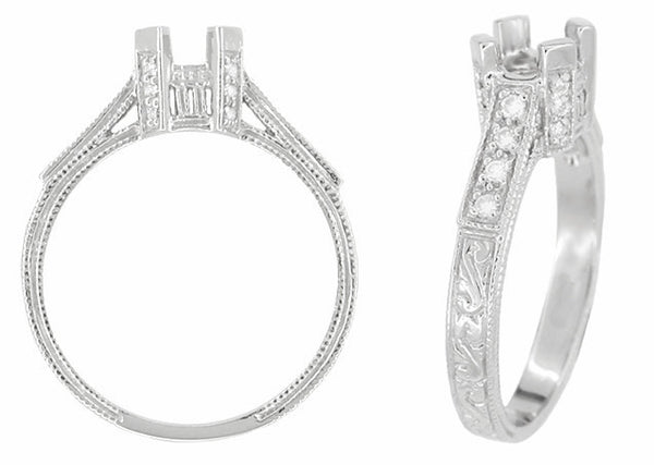 Art Deco Engraved Filigree Castle 1 Carat Diamond Engagement Ring Mounting in 18 Karat White Gold - Item: R664 - Image: 1