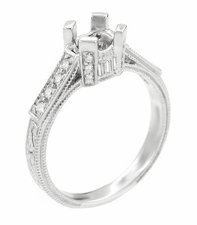 Art Deco Engraved Filigree Castle 1 Carat Diamond Engagement Ring Mounting in 18 Karat White Gold