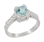Art Deco Citadel Filigree 1 Carat Aquamarine Engagement Ring in 18 Karat White Gold