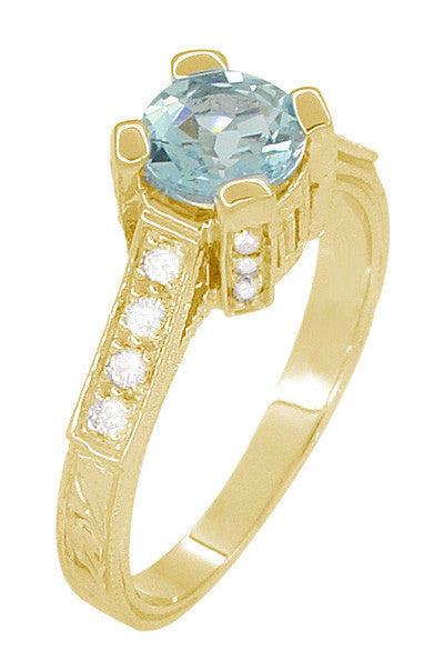 Art Deco Engraved Castle 1 Carat Aquamarine Engagement Ring in 18 Karat Yellow Gold - Item: R664YA - Image: 2