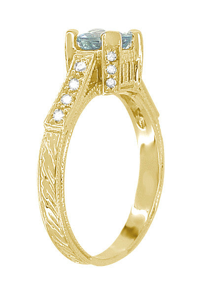 Art Deco Engraved Castle 1 Carat Aquamarine Engagement Ring in 18 Karat Yellow Gold - Item: R664YA - Image: 3