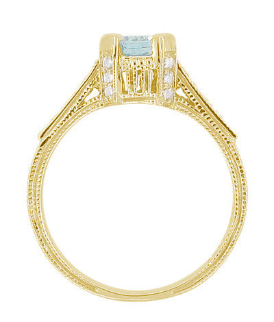 Art Deco Engraved Castle 1 Carat Aquamarine Engagement Ring in 18 Karat Yellow Gold - Item: R664YA - Image: 5