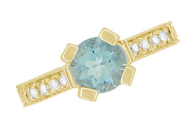 Art Deco Engraved Castle 1 Carat Aquamarine Engagement Ring in 18 Karat Yellow Gold - Item: R664YA - Image: 6