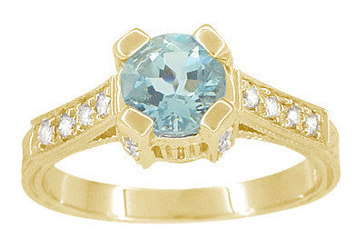 Art Deco Engraved Castle 1 Carat Aquamarine Engagement Ring in 18 Karat Yellow Gold - Item: R664YA - Image: 1