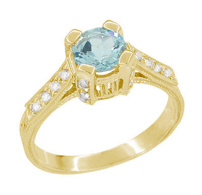 Art Deco Engraved Castle 1 Carat Aquamarine Engagement Ring in 18 Karat Yellow Gold