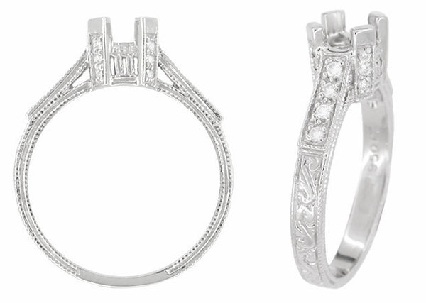 Art Deco 3/4 Carat Diamond Filigree Platinum Castle Engagement Ring Mounting for Round or Asscher - Item: R665 - Image: 1
