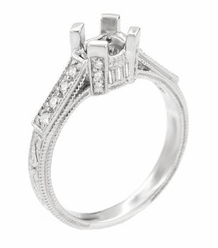 Art Deco 3/4 Carat Diamond Filigree Platinum Castle Engagement Ring Mounting for a Round or Asscher Diamond