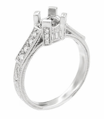 Art Deco 3/4 Carat Diamond Filigree Platinum Castle Engagement Ring Mounting for Round or Asscher