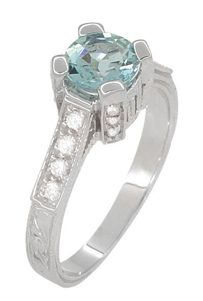 Art Deco Castle 3/4 Carat Aquamarine Engagement Ring in Platinum - Item: R665A - Image: 2