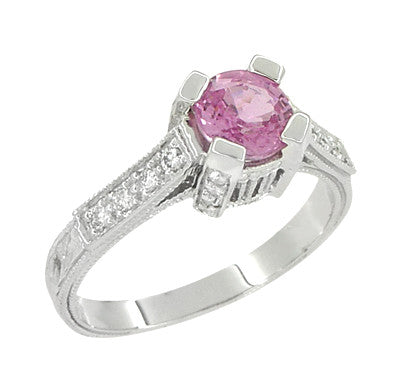 Art Deco Pink Sapphire Engraved Castle Engagement Ring in Platinum - Item: R665PS - Image: 2