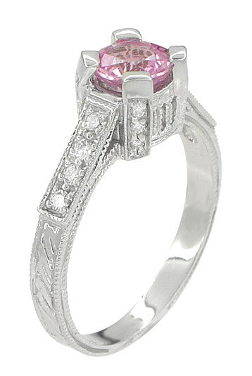 Art Deco Pink Sapphire Engraved Castle Engagement Ring in Platinum - Item: R665PS - Image: 3