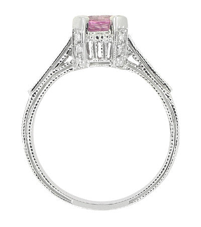Art Deco Pink Sapphire Engraved Castle Engagement Ring in Platinum - Item: R665PS - Image: 5